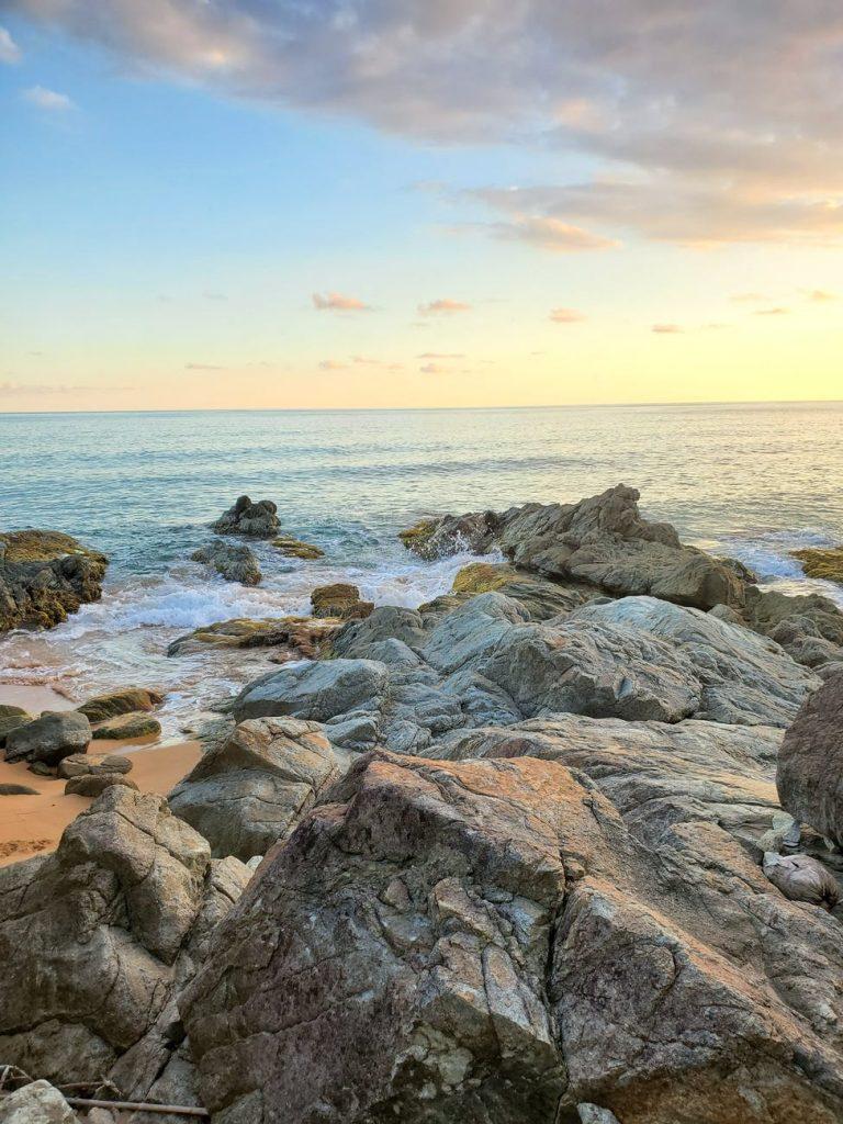 brown rocky shore
